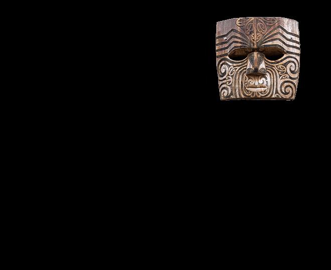 Máscara de madeira símbolo da cultura do Povo Maori da Nova Zelândia